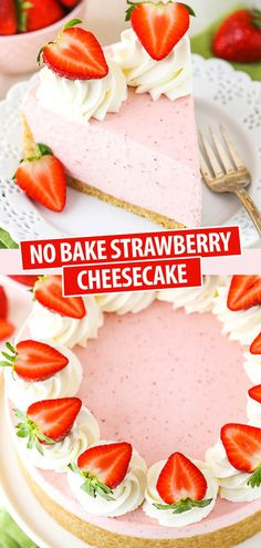 This No Bake Strawberry is full of flavor and uses both gelatin and a cooked strawberry mixture to make a thick and creamy cheesecake! Both the flavor and texture are wonderful and it's the perfect cheesecake for spring and summer! Vanilla Wafer Crust, Baked Strawberries, Cheesecake Strawberries, Strawberry Desserts, Strawberry Cheesecake Recipes, Strawberry Cheese Cakes, Homemade Cheesecake, Cheesecake Cookies, Summer Desserts