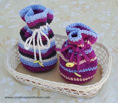 Crocheted Cotton Striped Gift Pouches