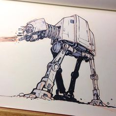An AT-AT today because: It's snowing here in Utah and my front yard looks like Hoth. My kids pooled their money and got me the LEGO AT-AT for Christmas and it's the coolest LEGO set ever! I'm a grown man and can't stop playing with it. Galaxy Drawings, Star Wars Drawings, Star Wars Fan Art, Robot Militar, Star Wars Zeichnungen, Tumblr Sketches, Best Lego Sets, Kid Pool, Skottie Young
