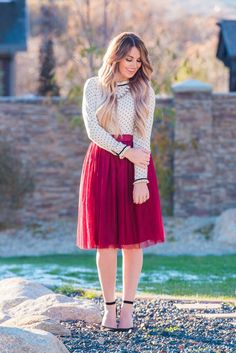 Holiday Tulle Skirt The perfect Holiday pieces. www.sexymodest.com #holiday #christmas #longhair #hairextensions #boutique #winterstyle #caraloren