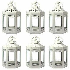Vela Lanterns 6pc 4.5 Inch Metal Tealight Mini Candle Lantern White #candle #holders #accessories (ebay link) Indoor Candle Lanterns, Wooden Lanterns, Hanging Lanterns, Lanterns Decor, Mini Candles, Tea Light Candles, Arabian Decor, Led Tea Lights, Wedding Lanterns