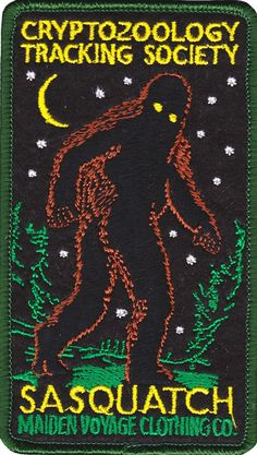 Cryptozoology fiends will be bangin' down the door for these patches from Maiden Voyage. This exquisitely designed embroidered patch features the elusive Sasquatch lurking through the woods. Cool Patches, Pin And Patches, Iron On Patches, Jacket Patches, Finding Bigfoot, Mothman, Patch Design, Clothing Co, Up Girl