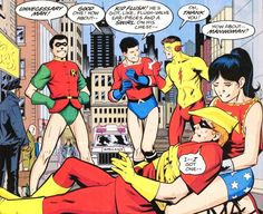 If one of the original Teen Titans got severally hurt and they were waiting for a medic to help them, they played a game where they made up the most stupid-sounding superhero names to pass the time. Young Justice Invasion, Original Teen Titans, Superhero Names, Roy Harper, Wally West, New Teen, Dc Memes, Comic Page, Fun Comics