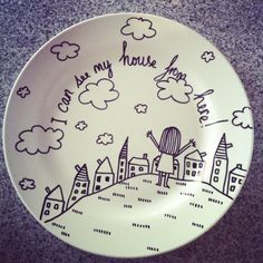 How to Decorate Dinnerware With Sharpie! & Dollar store plate w/sharpie;bake at 150 for 30 minutes. | Craft ...