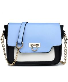 037963d833 Leather Style Horseshoe Clasp Cross Body Satchel Evening Handbag Purse -  Blue - CE12DZHJDIB