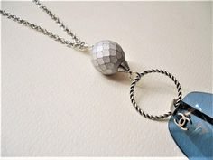 Golfing Necklace/Silver Lanyard Chain/26-34/Golf Ball/ID