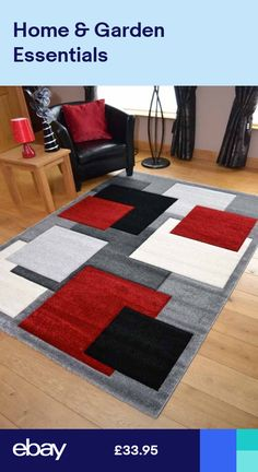 New Modern Thick Soft Quality Silver Black Red Floor Mat Rugs Long Hall Runners Black And Silver Living Room, Silver Grey Rug, Living Room Carpet, Rugs In Living Room, Red Living Room Decor, Red Floor, Bedroom Red, Red Rooms, Rugs On Carpet