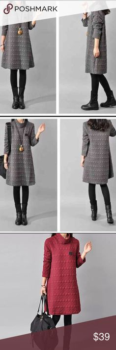 "Grey thick cotton outwear dress Material: cotton.                                                       🌺🌺 bust/shoulder/length/sleeve length /  US S.     38""/15""/33.8""/22"" US M.    40""/15.5""/34.2""/22.4"" US L.     42""/16""/34.6""/22.8"" US XL    44""/16.5""/25""/23.2"" Other"