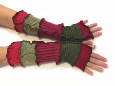 Upcycled Fingerless Gloves Red Green Armwarmers by malibuquilts