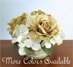 """The """"Beloved"""" Centerpiece - Silk roses and hydrangea flowers in choice of colors, petite table arrangement, wedding flowers, burlap & lace, #PosiesPearls"""