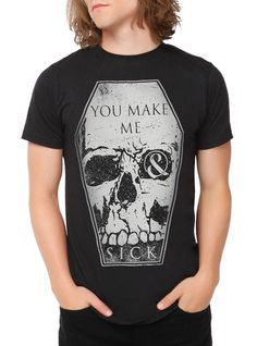 """Need this  Black+slim-fit+T-shirt+from+Of+Mice+&+Men+with+a+large+""""You+Make+Me+Sick""""+inspired+coffin+shaped+skull+design+on+front."""