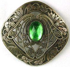 Antique button w/filigree setting, Circa 1890's.