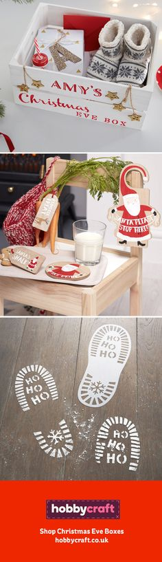 Celebrate the night before Christmas with a Christmas Eve Kit, perfect for preparing your little ones for Santa's visit. Find Christmas Eve Boxes, signs and even Santa boot stencils on our Christmas Eve Box page!