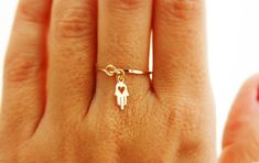 Valentine's Day, Hamsa ring, protection ring, gold bangle, Any Size ring, heart ring, gold heart, gold tiny ring, gift for her, charm ring. $25.50, via Etsy.