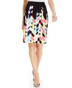 Nine West Geo-Print Pencil Skirt | macys.com