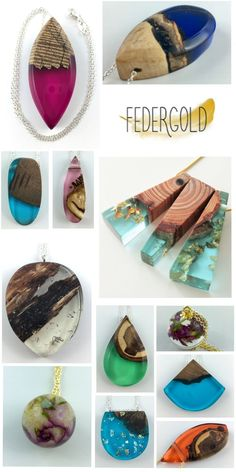 New resin and wood jewelry collection from Federgold . - New Federgold resin and wood jewelry collection … - Diy Resin Ring, Making Resin Jewellery, Wooden Jewelry, Handmade Jewelry, Beaded Jewelry, Diy Schmuck, Schmuck Design, Wood Resin, Resin Art