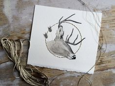 Original Watercolor and Embroidery Illustration of The Ending Deer || Animal Art || Woodland || Buck || Antler || Folk || Nature || by Anthropomorphics on Etsy https://www.etsy.com/listing/239826522/original-watercolor-and-embroidery