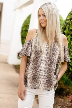 47b9cbc12a8 Shop the Finally Found Snake Print Cold Shoulder Top today at Stella Rae's  ...