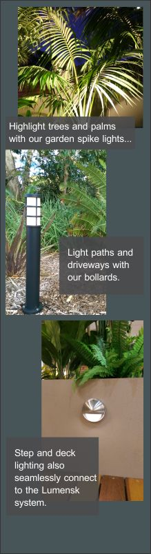 Lumenesk garden lighting made simple Garden Lighting Diy, Deck Lighting, Home Lighting, Garden Steps, Lighting Solutions, Make It Simple, Paths, Banner, Lights