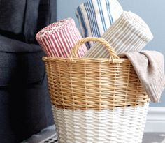 Laundry basket dipped in white paint