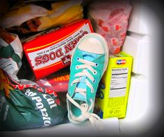 Stinky shoe fix!  Toss those gross smelly sneakers in the freezer overnight, to get rid of the foot funk smell.