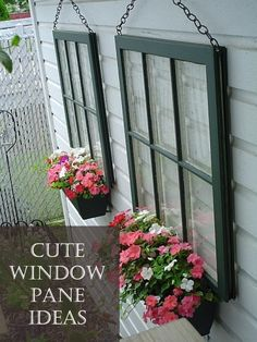 Container Gardening Some old windows, chain and window boxes.Some old windows, chain and window boxes. Outdoor Projects, Garden Projects, Diy Projects, Backyard Projects, Backyard Ideas On A Budget, Garden Diy On A Budget, Back Yard Ideas Diy, Front Patio Ideas, Inexpensive Backyard Ideas