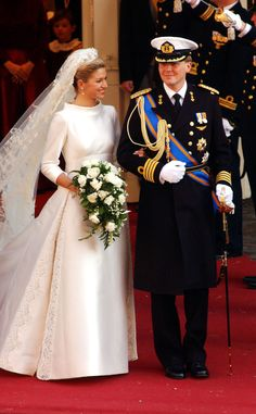 Crown Prince Willem-Alexander, Prince of Orange married Máxima Zorreguieta Cerruti on February 2, 2002. The bride wore a Valentino couture gown made of ivory Mikado silk. Her 16-foot train was inset with panels of embroidered lace. The silk tulle veil was hand embroidered with floral motifs and held in place by the base of the Dutch Button Tiara with some of Queen Emma's diamond stars attached to the tiara. Máxima and Willem-Alexander were married on in a civil ceremony in the Beurs van…