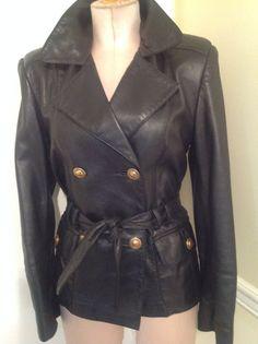 Vintage 80s Dero By Rocco black leather coat S/M
