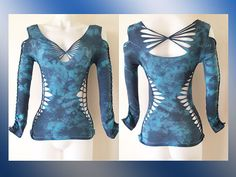 Junior / Womens Long Sleeve Cut and Weaved Black and Blue Tie Dyed Top Size Small, Medium, Large, XL, 2xl, 3xl