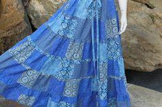 Blue Hippie Patchwork Skirt  Festival  Clothes by frans2hands