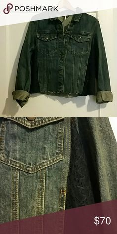 Free People Jean Jacket with lace inset NWT A casual fall jacket that can go with anything. The navy lace inset along the sides adds a little extra style to the classic jean jacket look. Free from any damage, wear or stains.                                                                         (3) Free People Jackets & Coats Jean Jackets