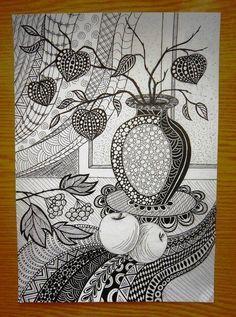 Doodle Art Drawing, Illustration Art Drawing, Zentangle Drawings, Mandala Drawing, Zentangles, Mandala Art Lesson, Mandala Artwork, Zantangle Art, Arte Linear