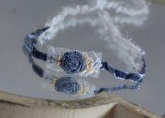 Blue lace rosette newborn tieback
