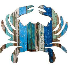 He would be great on the nets hanging on the outside wall.   148.99   20 x 23  This Crab wooden wall plaque is hand made in the USA. . This crabby creature makes the perfect coastal decorative accent.�