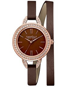 bulova men s two tone watch w round stainless steel dial caravelle new york by bulova women s brown leather double wrap strap watch women s watches jewelry watches macy s