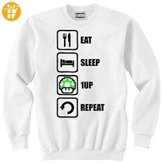Eat Sleep 1UP Repeat Funny Mario Graphic Unisex Sweater XX-Large (*Partner-Link)