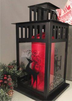 vinyl reindeer decal on IKEA lantern / Sign up for our monthly craft idea:  http://www.wordplaydesigns.net/#!wp-newsletter/c1zmd