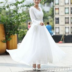 White Chiffon skirt Maxi Skirt Long Skirt by fashionclothingshow ...