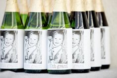 label idea to put baby pic + happy birthday for 30th bday on bottles(just need to figure out how to do the labels)