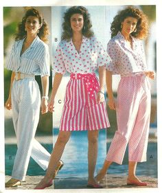 Vintage 80s Butterick 4109 UNCUT Misses Cropped Top Cropped