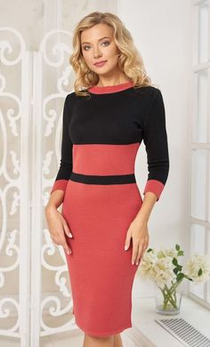Classic black and coral dress on the figure by Olesya Masyutina. Sheath midi dress with 3/4 sleeves. 800 models of knitted and fabric women clothes in casual style, evening and wedding.