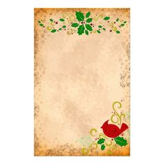 Cardinal and Holly Parchment Stationery by FalconsEye