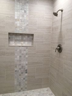 Neutral shower tile Neutral shower tile in grays and beiges. Tile from Floor & Decor. Large wall tile Mosaic tile Neutral shower tile Neutral shower tile in grays and beiges. Tile from Floor & Decor. Mosaic Shower Tile, Gray Shower Tile, Shower Tile Designs, Shower Floor Tile, Large Tile Shower, Neutral Bathroom Tile, Modern Bathroom, Small Bathroom, Bathroom Ideas