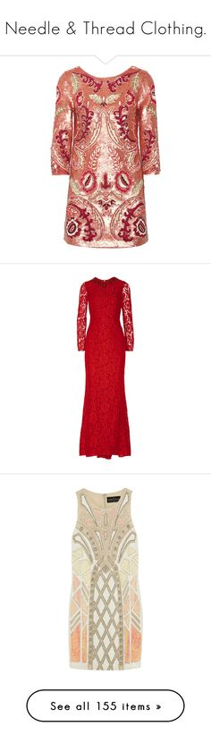 """Needle & Thread Clothing."" by that-drumming-noise ❤ liked on Polyvore featuring dresses, red, multi-color dress, floral mini dress, floral print dress, multi color sequin dress, colorful dresses, gowns, longos and needle & thread"