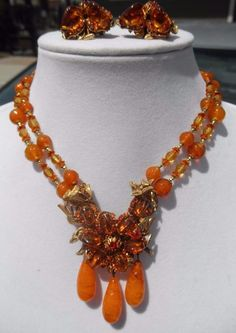 NR Signed MIRIAM HASKELL Orange Poured Glass Rhinestone Flower Necklace Earrings | Jewelry & Watches, Vintage & Antique Jewelry, Costume | eBay!