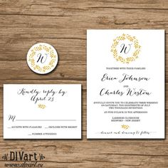 Elegant Wedding Invitation Suite, Response Card, Monogram - PRINTABLE files - rustic wedding, wreath, black and gold - Erica - by DIVart