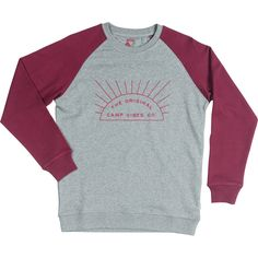 BUY NOW: Poler sunshine Womens Crewneck : Heather Gray / Sweet Berry Wine