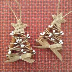 Christmas Tree Ornaments /Cinnamon sticks ornaments/ (set of 2 ) Handmade and Design in cinnamon sticks