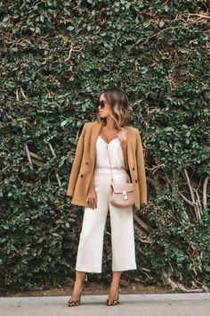 petite fashion blog, lace and locks, los angeles fashion blogger, white culottes, camel blazer, fall fashion ideas, fall neutrals, leopard pumps, chloe drew mini blush, orange county fashion blogger