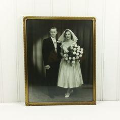 Bride and Groom Wedding Photo in Frame 1950s Era by naturegirl22